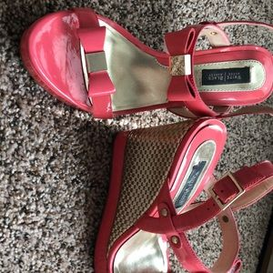 Pink patent leather wedges